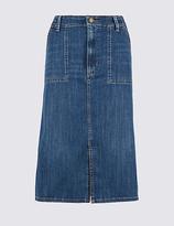M&S Collection Denim Patch Pocket A-Line Midi Skirt
