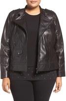 Bernardo Plus Size Women's Leather Moto Jacket