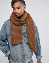 Asos Knitted Scarf In Tobacco