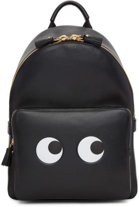 Anya Hindmarch Black Mini Eyes Right Backpack