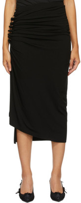 Paco Rabanne Black Asymmetric Ruched Skirt