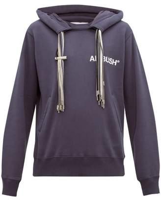 Ambush Drawstring Tassel Cotton Jersey Hooded Sweatshirt - Mens - Blue