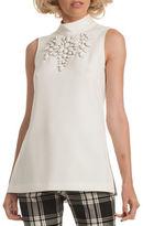 Trina Turk Embroidered Sleeveless Mockneck Blouse