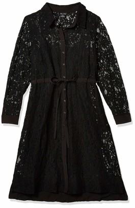 City Chic Women's Apparel Women's Plus Size Classic Dress with lace Overlay and Button Front Detail