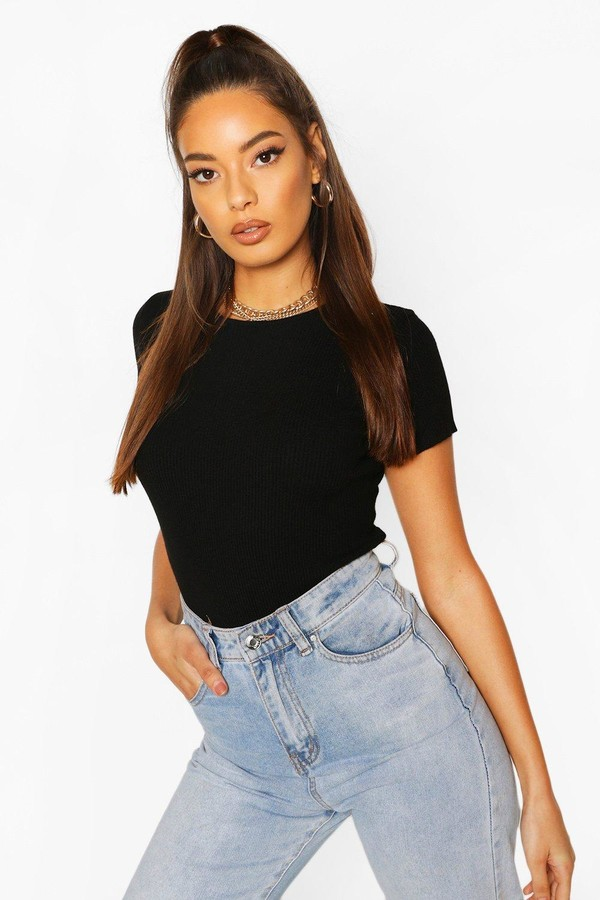 boohoo Rib Knit Crew Neck Short Sleeve Knitted Bodysuit