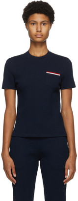 Thom Browne Navy Seersucker Striped Pocket T-Shirt