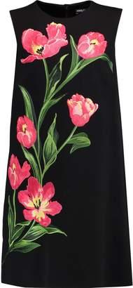 Dolce & Gabbana Embroidered Wool-blend Crepe Mini Dress