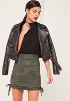 Missguided Khaki Faux Suede Lace Up Side Mini Skirt