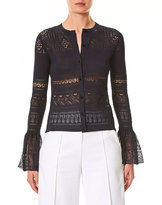Carolina Herrera Crocheted Lace Ruffle-Cuff Cardigan