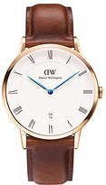 Daniel Wellington 1100DW Unisex Dapper Leather Strap Watch, Brown/White