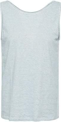 Theory Striped Linen-blend Jersey Tank