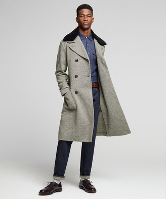 Todd Snyder Double Breasted Herringbone Topcoat with removable Shearling Collar