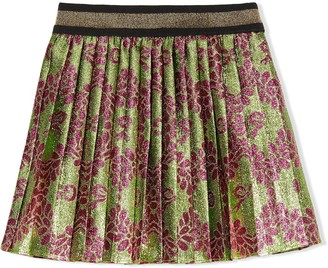 Gucci Kids Floral Print Lame Skirt