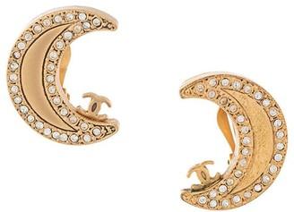 Chanel Pre Owned 2001 Rhinestone Moon Rhinestone Earrings
