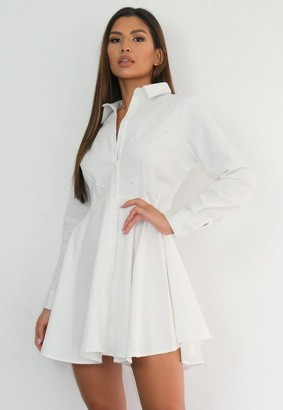 Missguided White Pearl Detail Skater Shirt Dress