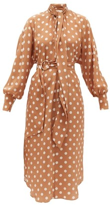 Zimmermann Polka-dot Silk Crepe-de-chine Dress - Womens - Brown Print