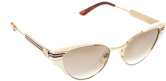 Gucci Ivory and Gold/ Green Gradient GG0522S Cat Eye Sunglasses