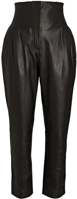 Alberta Ferretti Tapered High-Waist Leather Pants