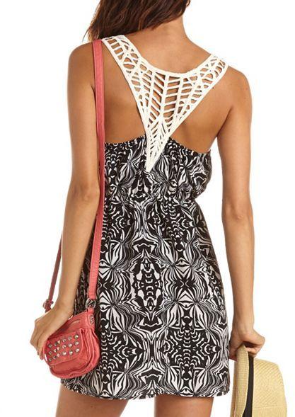 Charlotte Russe Printed Crochet Racerback Dress