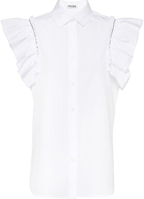 Miu Miu Sleeveless Poplin Blouse