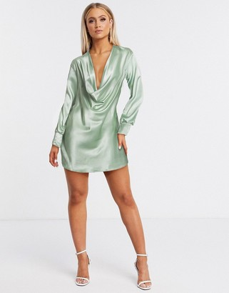 Flounce London satin deep cowl mini dress in mint