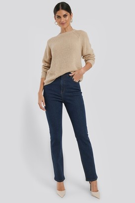 NA-KD High Waist Back Slit Straight Jeans Blue
