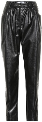 MSGM High-rise faux leather pants