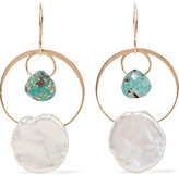 Melissa Joy Manning 14-karat Gold, Turquoise And Pearl Earrings - one size