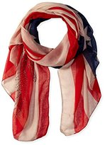 D&Y Women's American Flag Scarf with Rhinestone Eagle