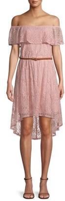 No Boundaries Juniors' Off the Shoulder Lace Dress