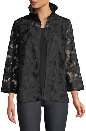 Caroline Rose After Hours Floral-Embroidered Jacket