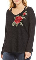 Moa Moa Plus Floral Embroidered Shoulder Cut-Out Top
