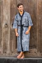 Men's Black and White Block Print Robe from Indonesia, 'Kuta Waves'