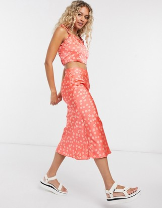 Glamorous midi skirt in ditsy floral two-piece