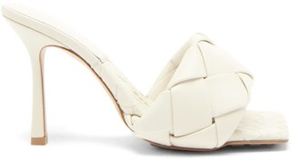 Bottega Veneta Lido Intrecciato-woven Leather Sandals - White