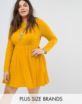 Alice & You Long Sleeve Smock Dress With Pleated Skirt