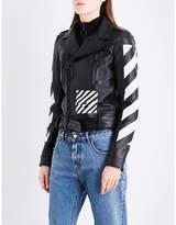 Off-White Ladies Black White Striped Luxe Diagonal Stripes Leather Biker Jacket