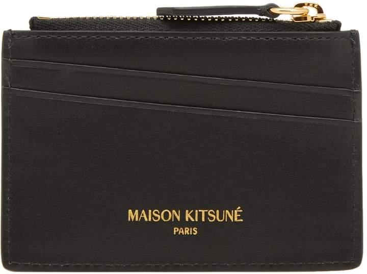 MAISON KITSUNÉ Tricolour Zipped Leather Card Holder