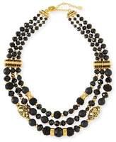 Jose & Maria Barrera Black Passementerie Beaded Necklace