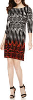 London Times London Style Collection 3/4-Sleeve Tribal Print Shift Dress