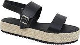 Yours Clothing Black PU Flatform Espadrille Sandal In E Fit