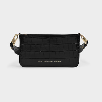 CHYLAK Underarm Bag In Black Croc Embossed Leather