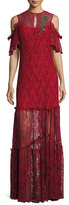 Nanette Lepore Embellished Cold-Shoulder Lace Gown, Crimson