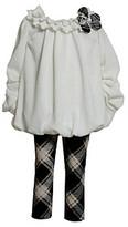 Bonnie Jean Girls' 2T-4T Ivory/Black Bubble Top and Plaid Leggings Set