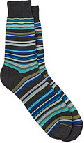 Barneys New York Men's Mixed-Stripe Mid-Calf Socks-GREY