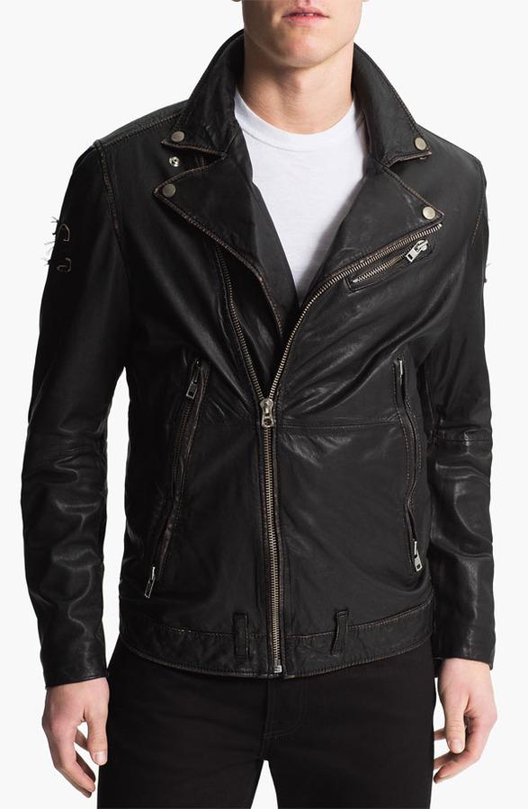 Diesel 'Lapismium' Coated Leather Moto Jacket