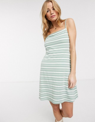 ASOS DESIGN square neck stripe mini dress in sage