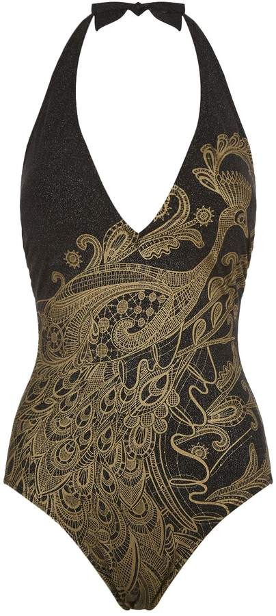 Gottex Peacock Print Swimsuit
