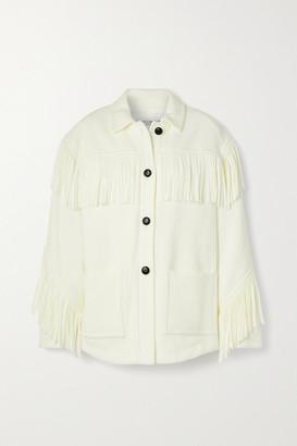 Philosophy di Lorenzo Serafini Oversized Fringed Wool-blend Jacket - Ivory
