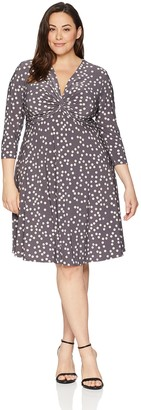Anne Klein Women's Size Plus Three-Quarter Sleeve Twist Front Dress